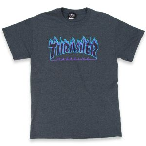 Camiseta Thrasher Flame Logo Navy Heather