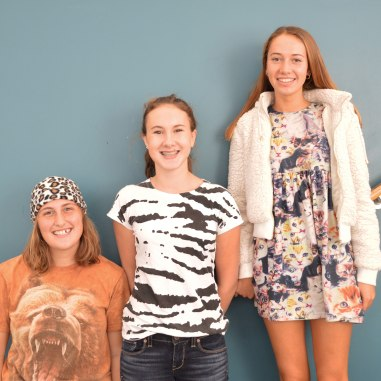 Juniors Amy Alverson, Marina Pope, and Stephanie Belbeck pose with their animal wear
