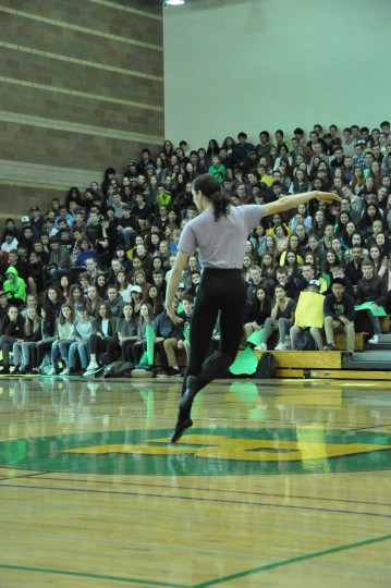 Sophomore Jackson Newstead performs a dance