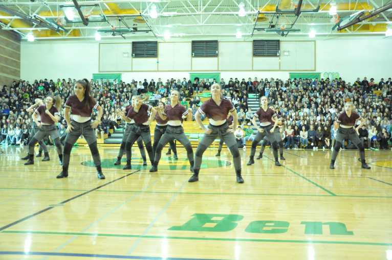 Dance Team, who picked up second at state last weekend, do their routine at the assembly