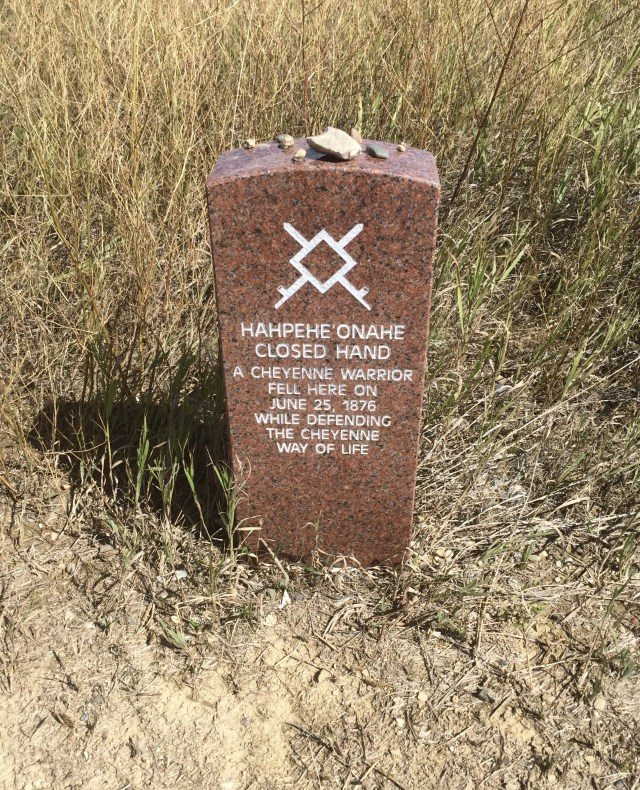 Marker honoring fallen indian at Little Bighorn National Monument