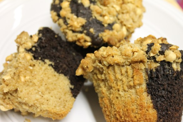 Chocolate Peanut Butter Streusel Muffins