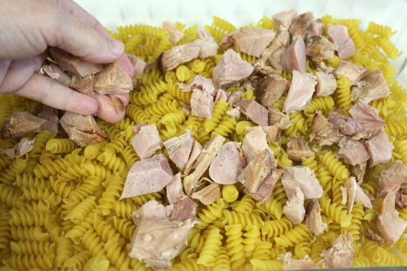 Cover the dry pasta with ham.