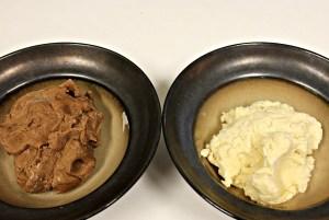 half vanilla, half chocolate