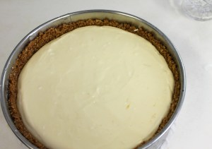 Pour batter into crust and smooth with a knife.