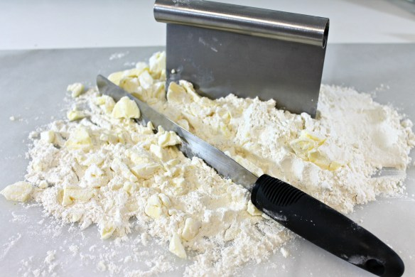 Roughly chop together. Don't blend in the butter - chunks are what make it flaky!