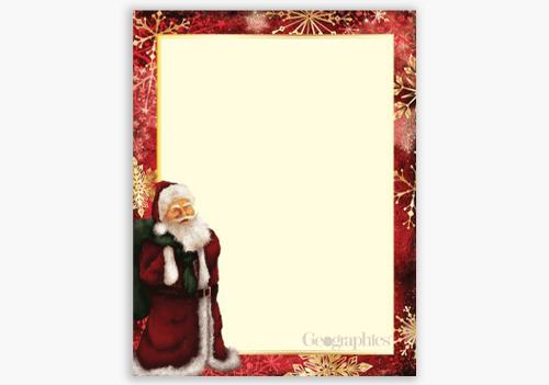 Classic Santa Christmas Letterhead Gold Foil