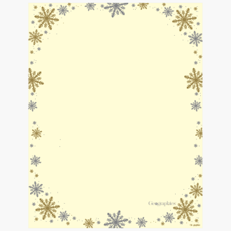 Silver and Gold Frost Ivory Christmas Foil Letterhead 49744W_