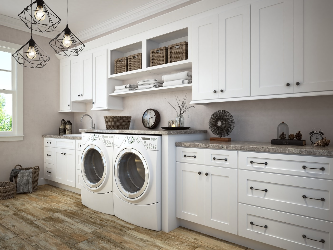 Aspen White Shaker Pre-Assembled Laundry Room Cabinet ... on Laundry Room Cabinets  id=22152