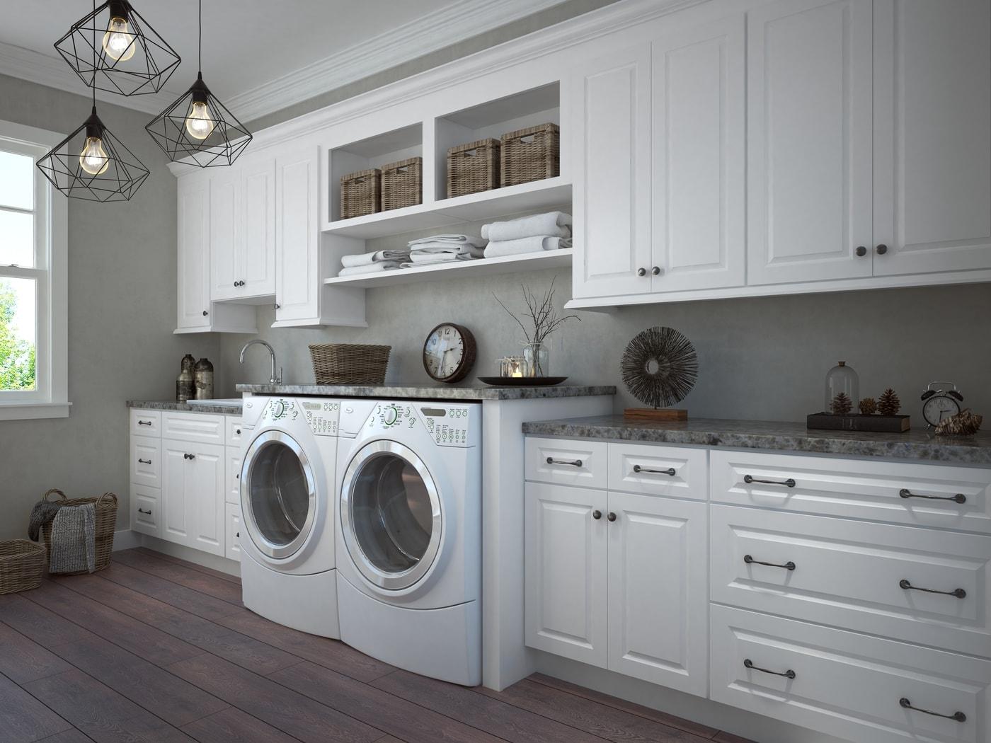 Dakota White Pre-Assembled Laundry Room Cabinets - The RTA ... on Laundry Room Cabinets  id=39469