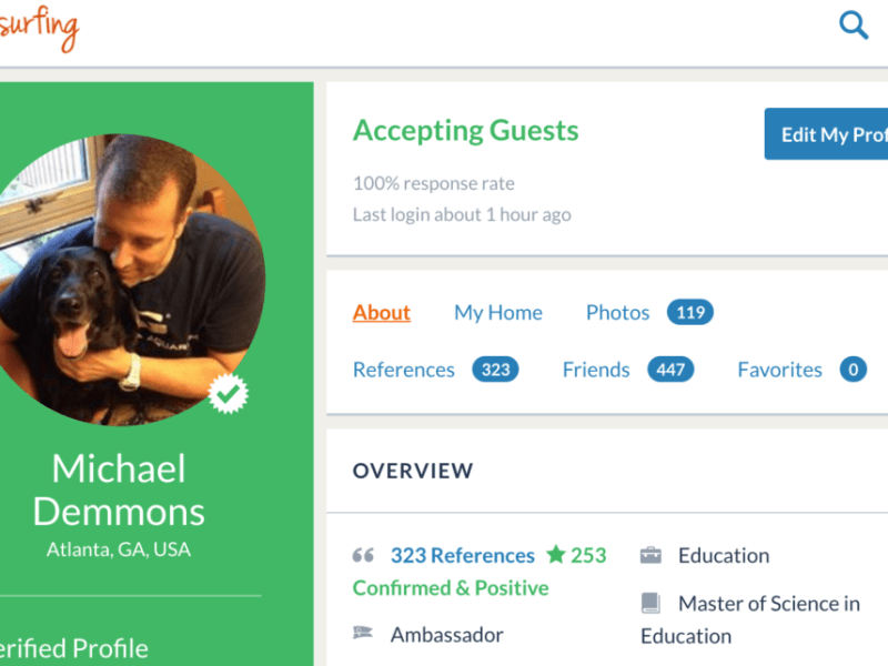 Couchsurfing Couch requests - Michael's CS Profile page