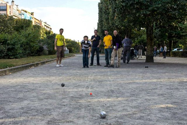 """Playing """"petanque"""" with my host and his friends in Toulouse. France"""