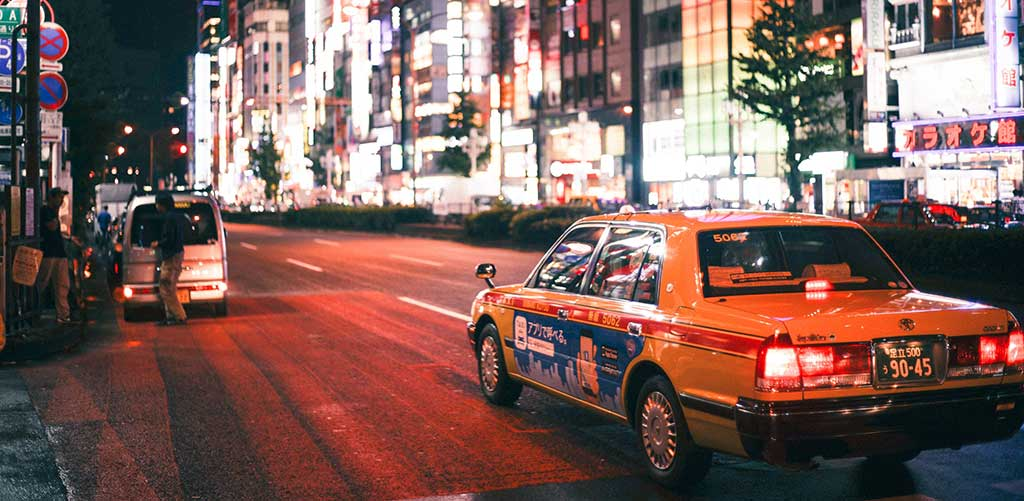 Taxi in a large Asian city