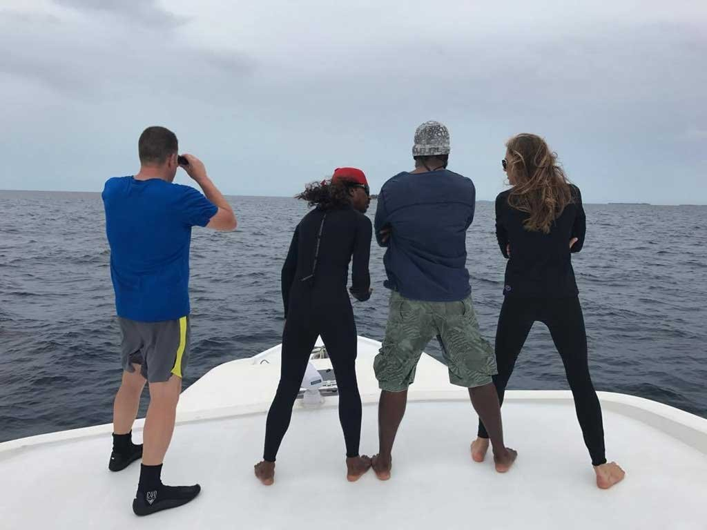 Searching for whale sharks on the Emperor Leo Maldives