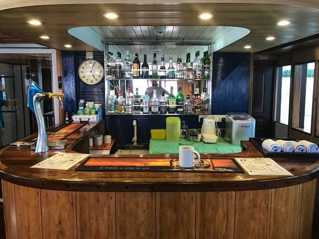 The bar aboard the Emperor Leo Maldives is Fully stocked