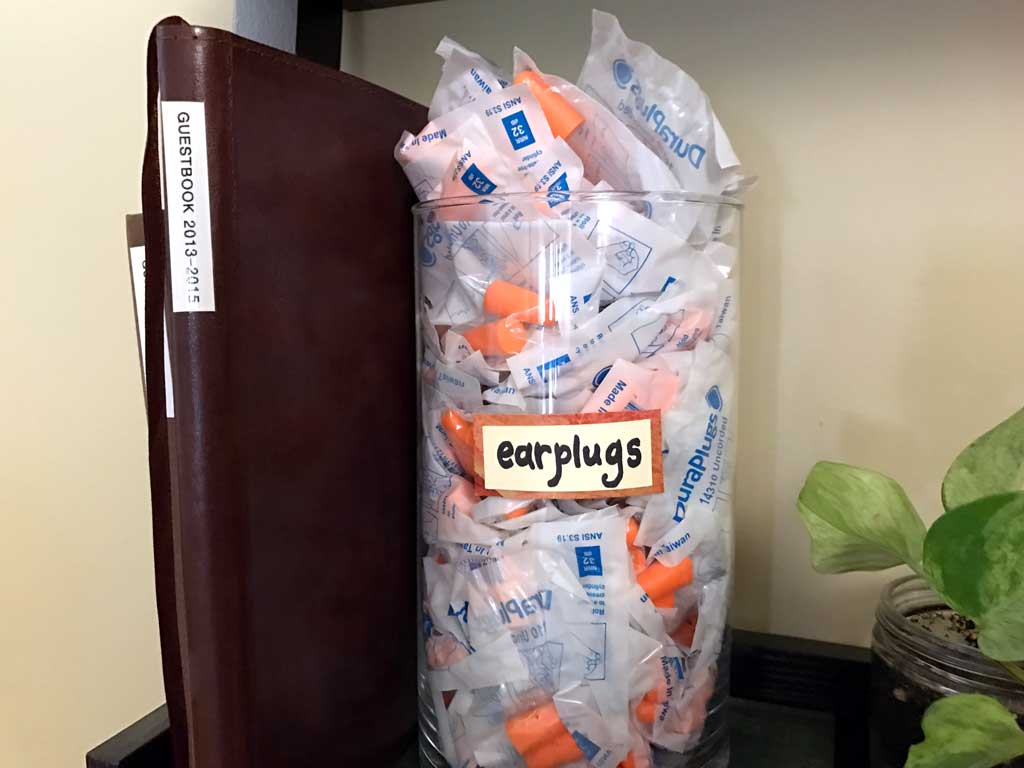 Earplugs provided at the hostel main desk. Use them wisely!