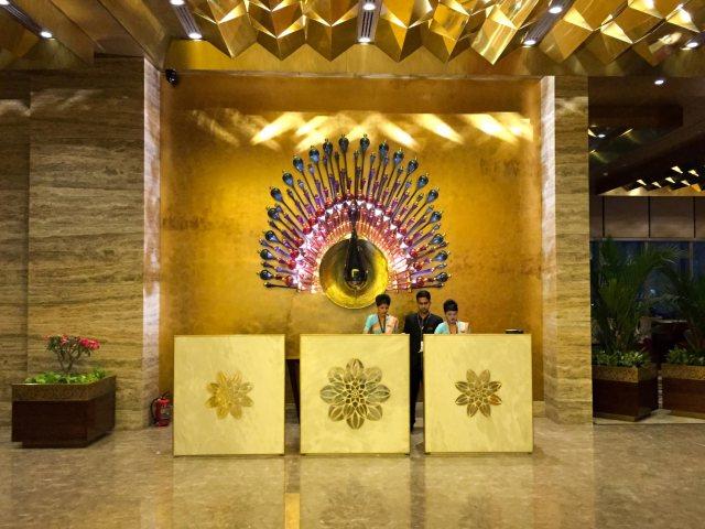 The reception area at GVK Airport Lounge Mumbai