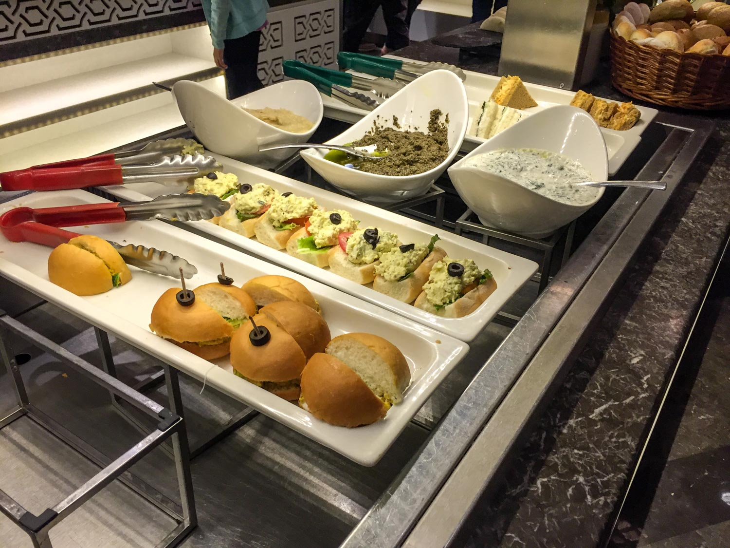 Sandwich table at GVK Airport Lounge Mumbai