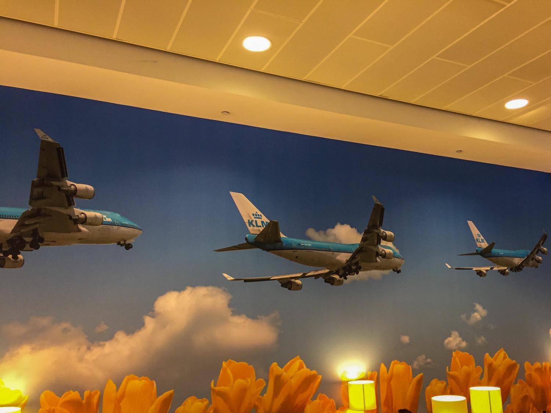 KLM Crown Lounge 52 mural of KLM jets