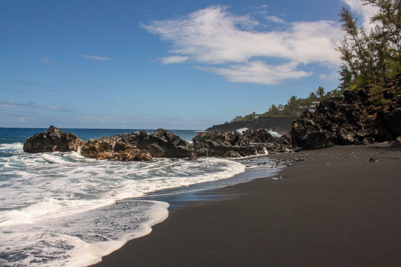 Pacific Ocean Islands Hawaii black sand beach
