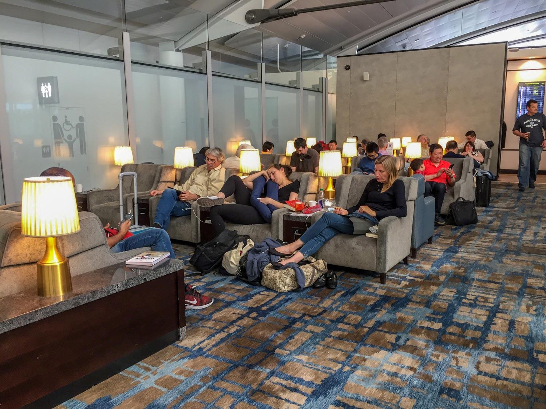 Plaza Premium International Terminal 1 crowded lounge