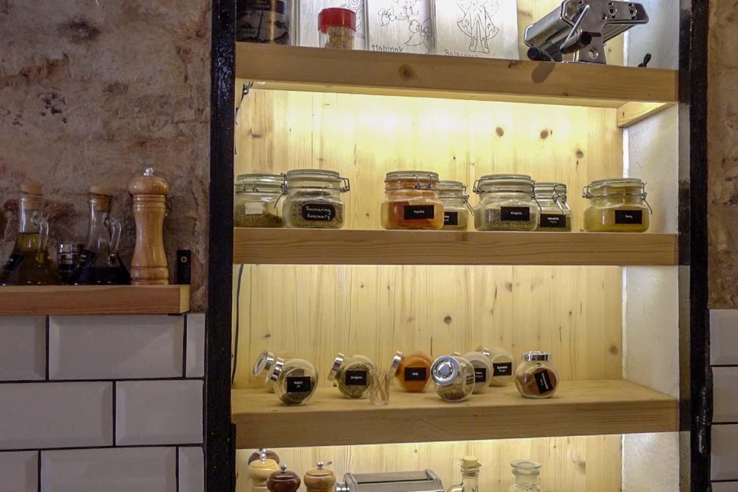 Budapest Makery - tools and spices on the wall