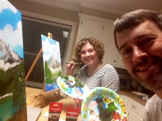 Bob Ross painting night