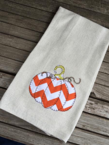 Chevron pumpkin tea towel 1