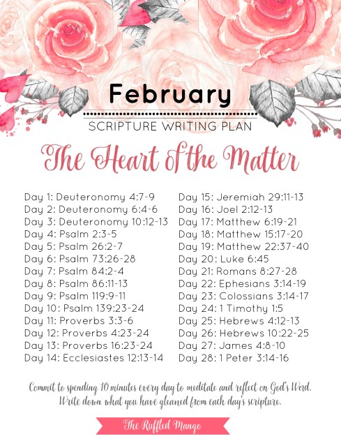 If you're looking for a simple way to get more of God's Word into your daily life, look no further than a monthly scripture writing schedule. February's theme is The Heart of the Matter and we're going to boil things down and get right to the important stuff!