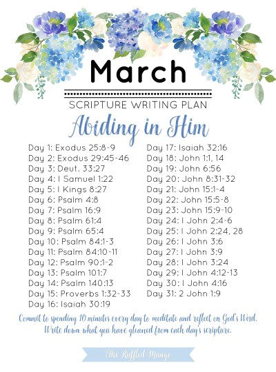 March Scripture Writing Plan – Abiding in Him