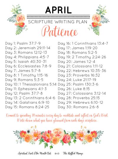 April Scripture Writing Plan: Patience