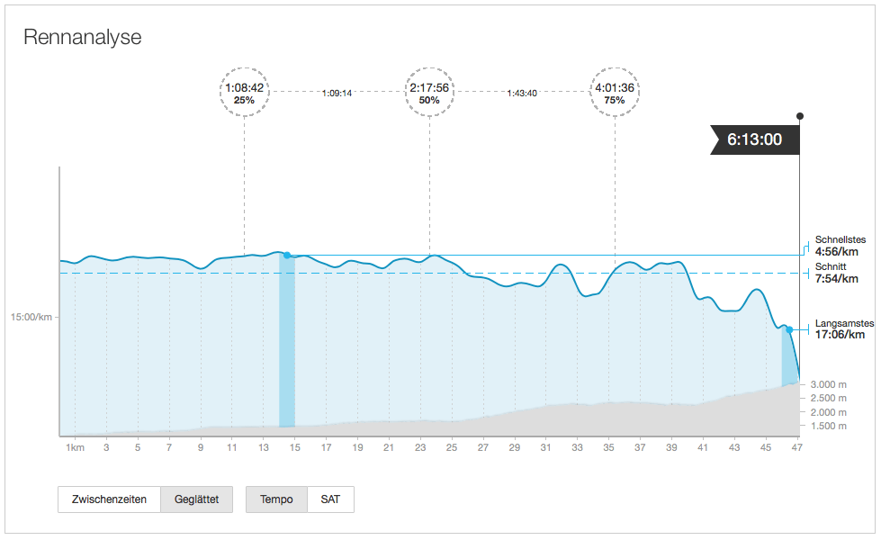 Advanced analysis on the Strava website to review your race