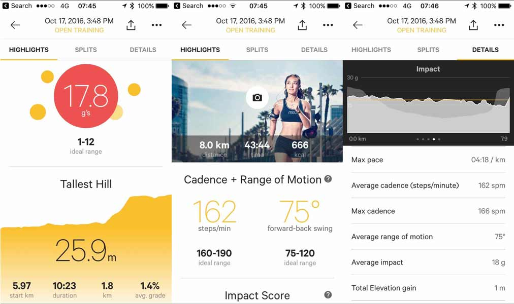The Moov Now measures for runners