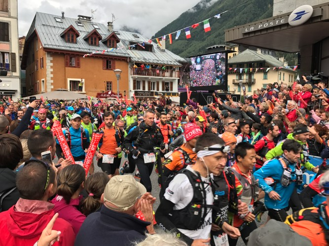 The start of the 2,500 UTMB runners