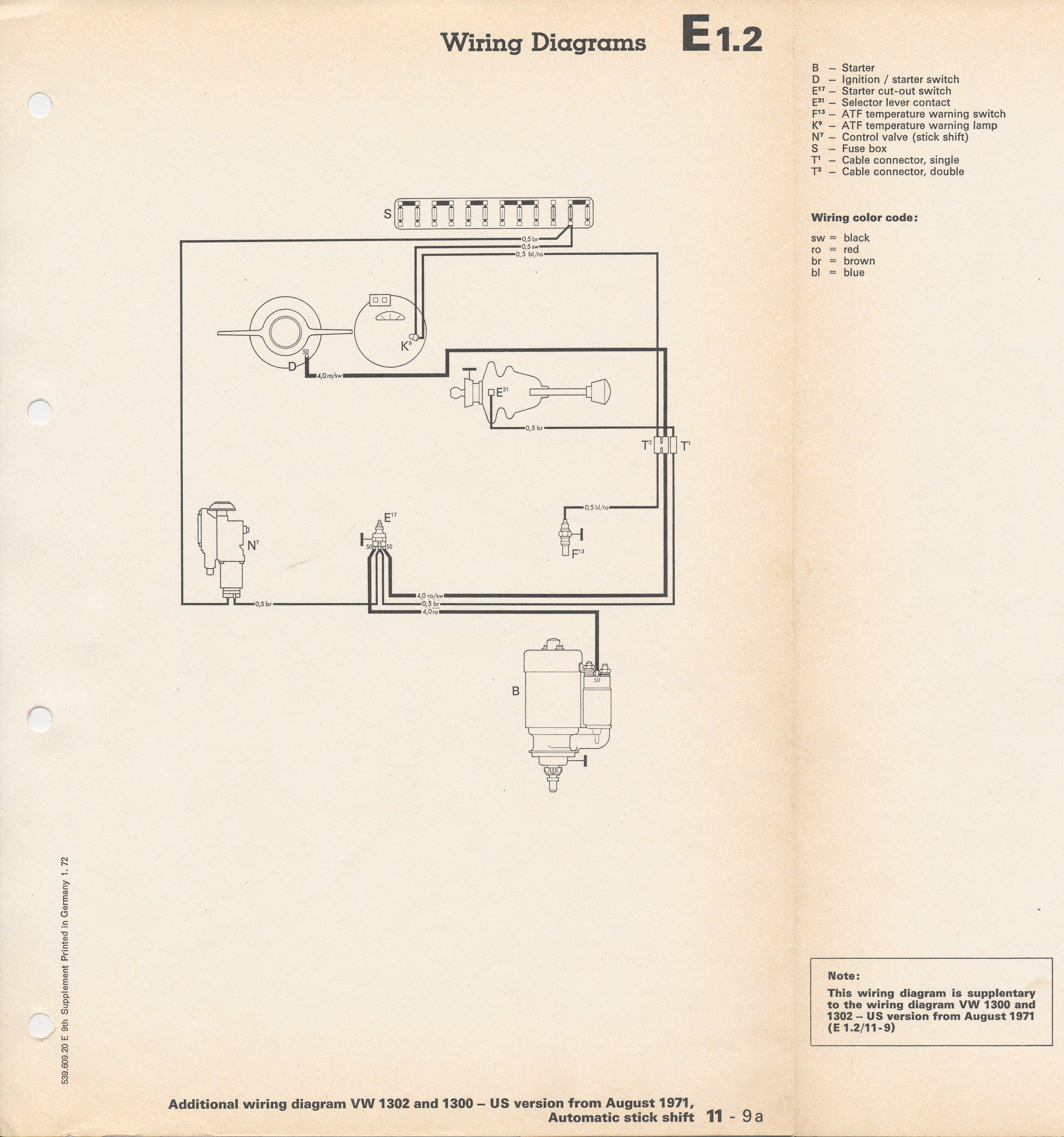 1972 Super Beetle Autostick Wiring Diagram Download Diagrams 1968 Vw 24 Images 1973