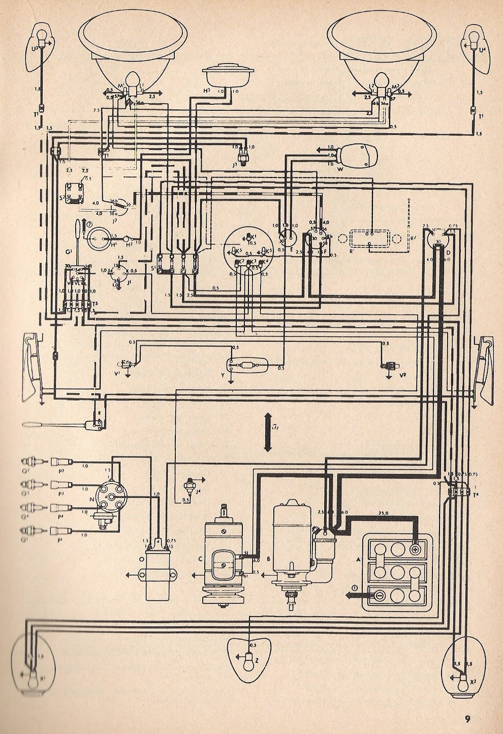 Electrical Wiring Diagram 1971 Karmann Ghia on wiringghia