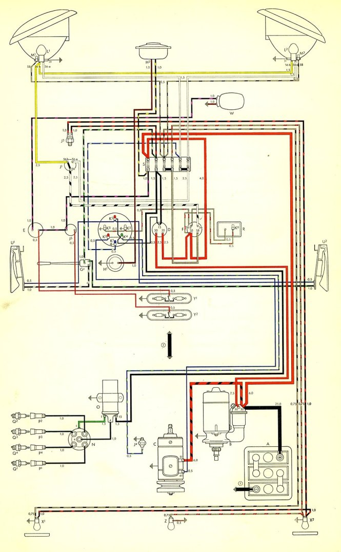 vw beetle ignition wiring diagram wiring diagram vw tech article 1962 65 wiring diagram