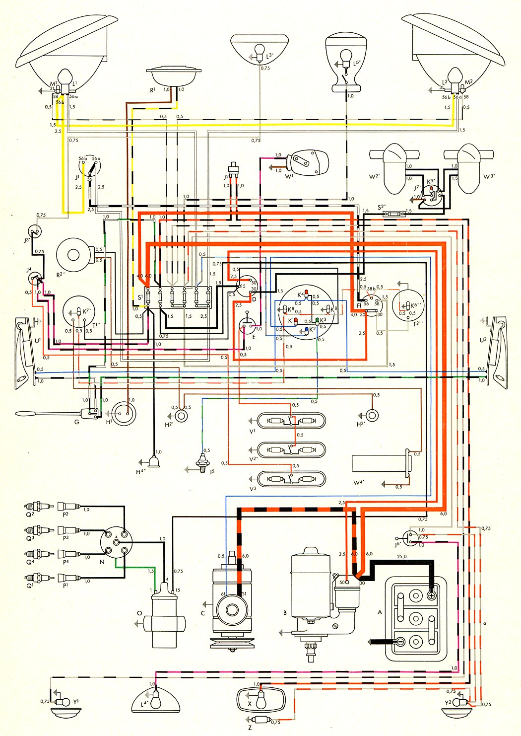 Vw T4 Headlight Wiring Diagram Trusted Diagrams Vintage Loom Steering Bug Wiper Motor