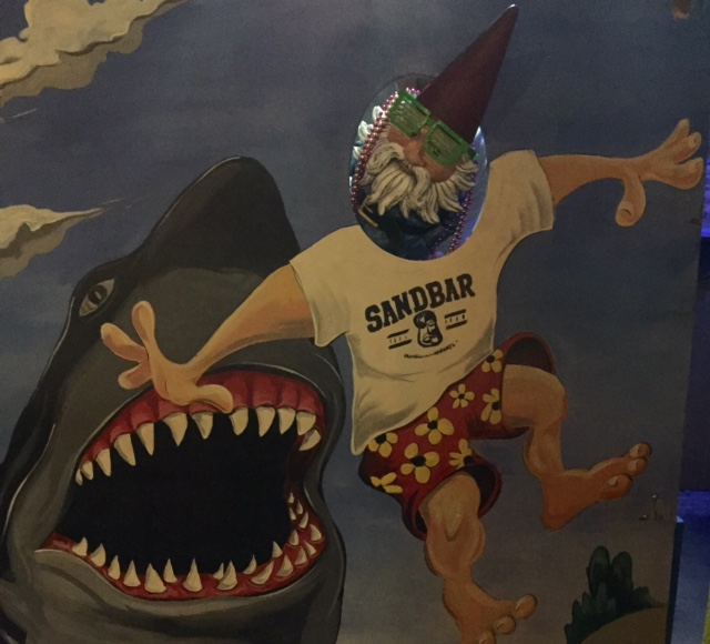 Roaming Gnome poses with the shark at the Sandbar | www.thesandbar.com