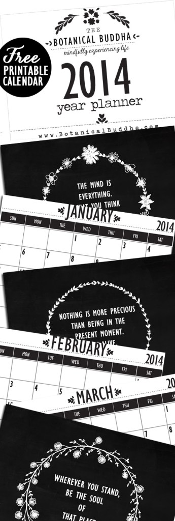 the botanical buddha 2014 printable calendar