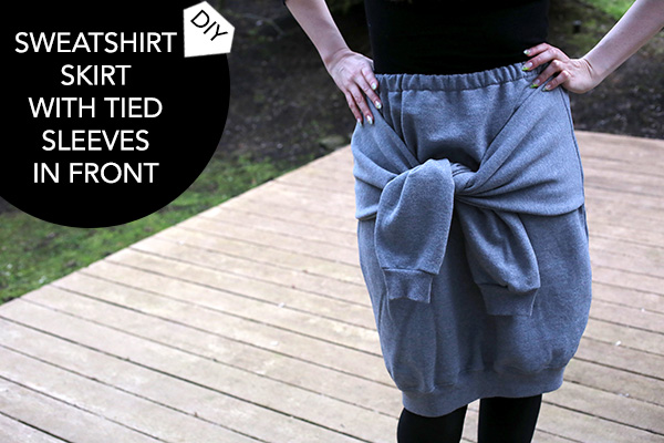 DIY Sweatshirt Skirt with Tied Sleeves in Front