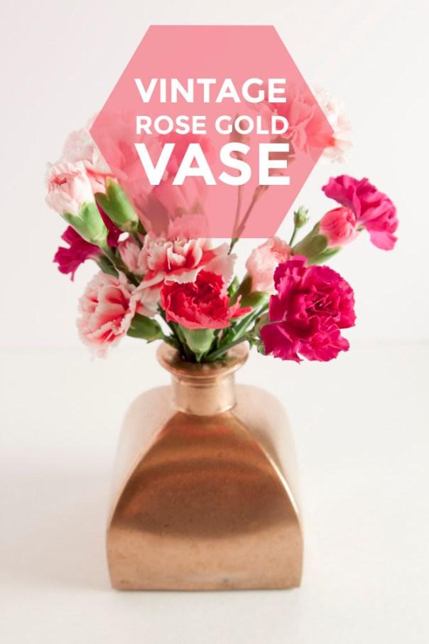 Vintage Rose Gold Vase