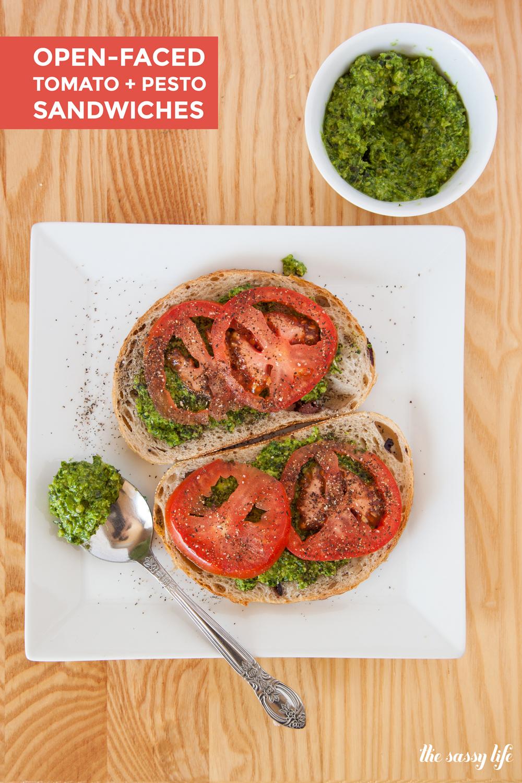 Open-Faced Tomato & Pesto Sandwich (Vegan)