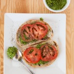 Open-Faced Tomato & Pesto Sandwiches (Vegan)