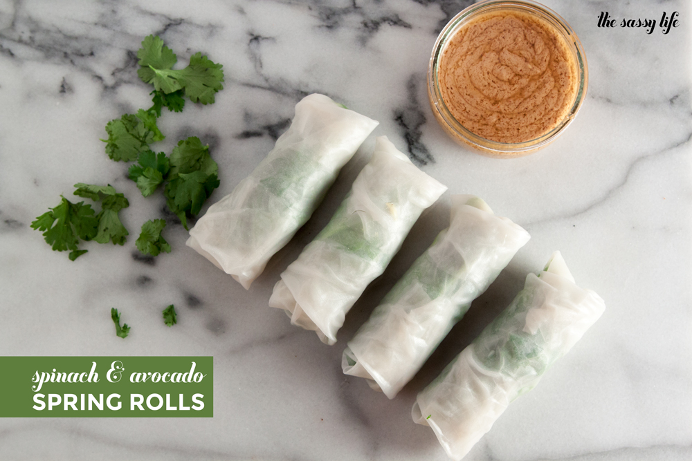 Spinach and Avocado Spring Rolls (Vegan)