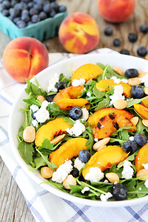 Grilled Peach Blueberry and Arugula Salad