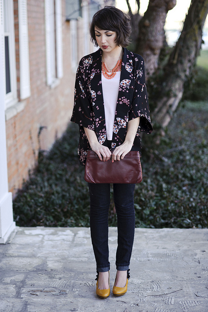 Printed Short Kimono with black pants and untucked white shirt