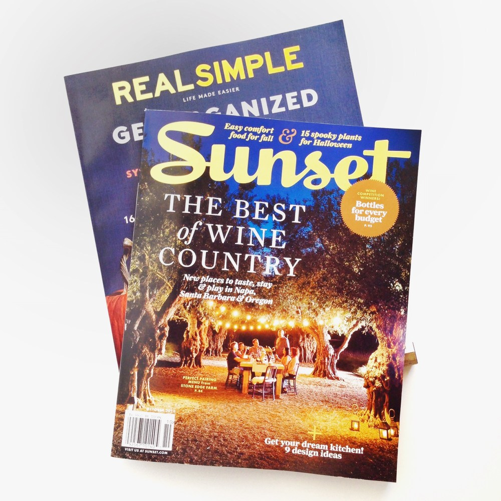 How to unwind after a long day: sunset magazine and real simple magazine