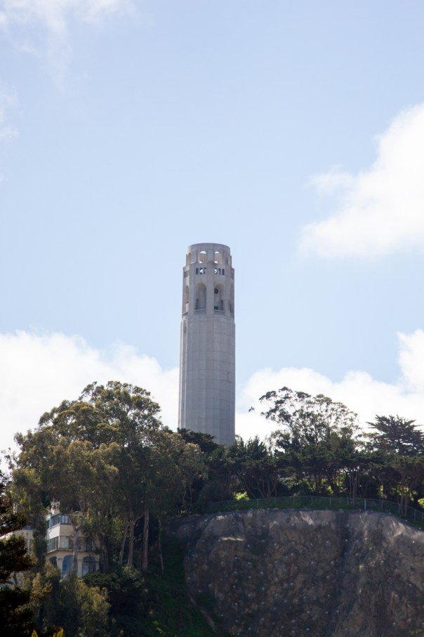 The view of Coit Tower from the waiting area