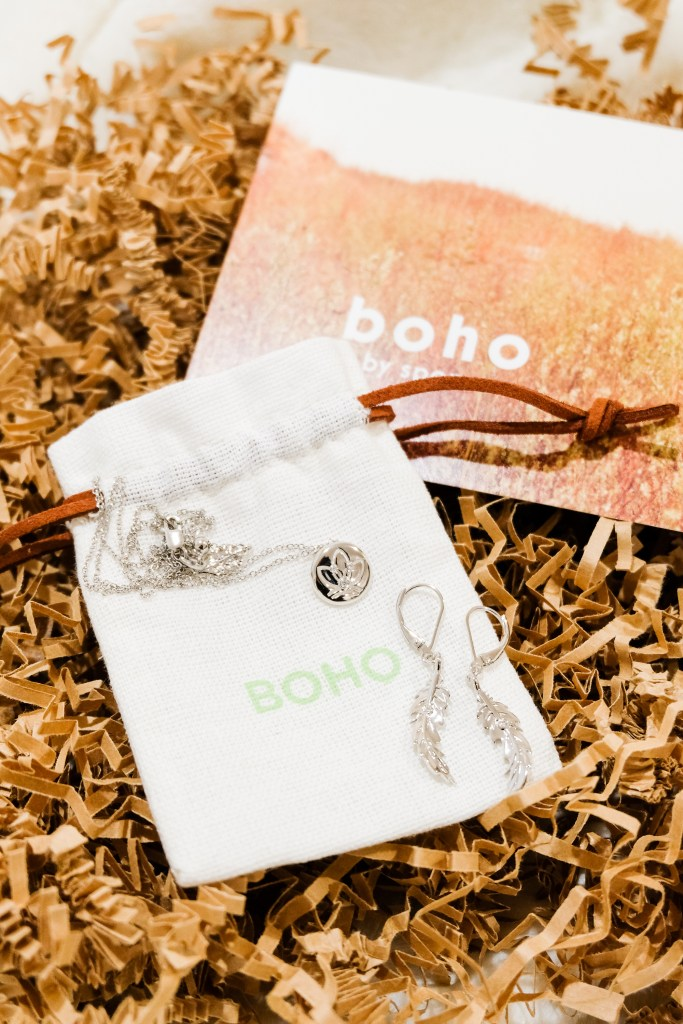 Boho By Spence Diamonds // Small Feather Earring $99.00 USD // Medium Earth Adjustable Necklace $99.00 USD